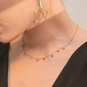 NEW 18K Gold Plated Cross Diamond Drop Necklace